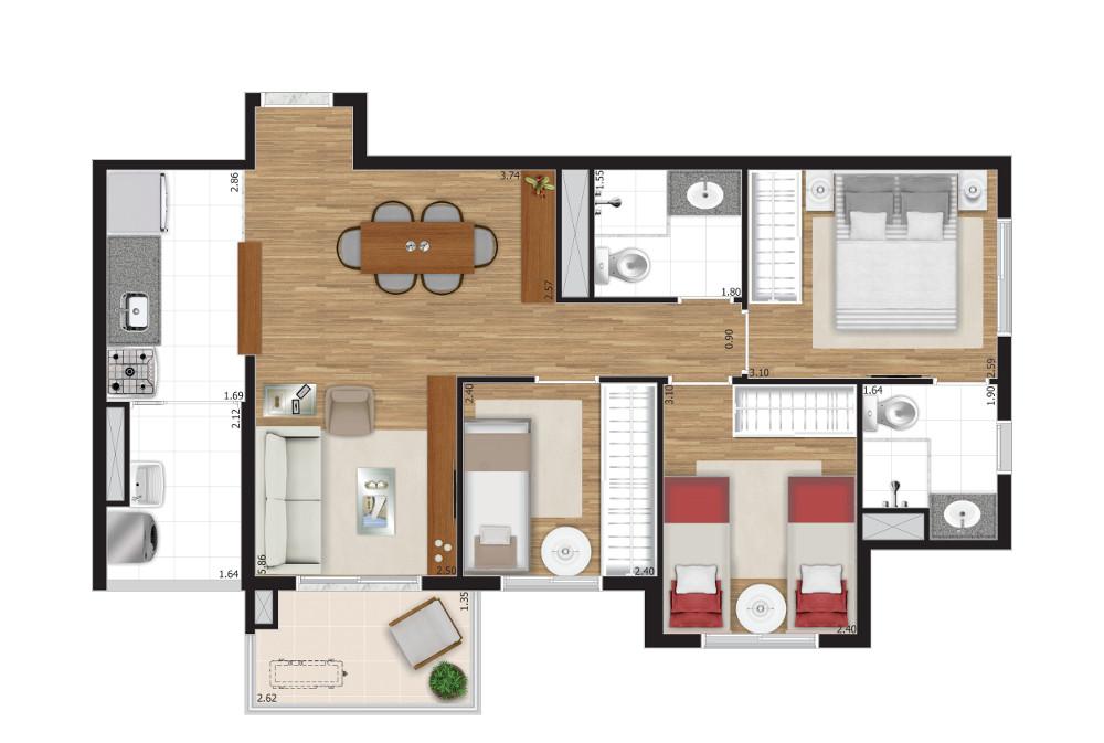 3 dormitórios - Opção C