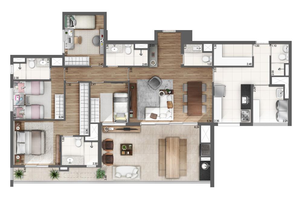 4 dormitórios