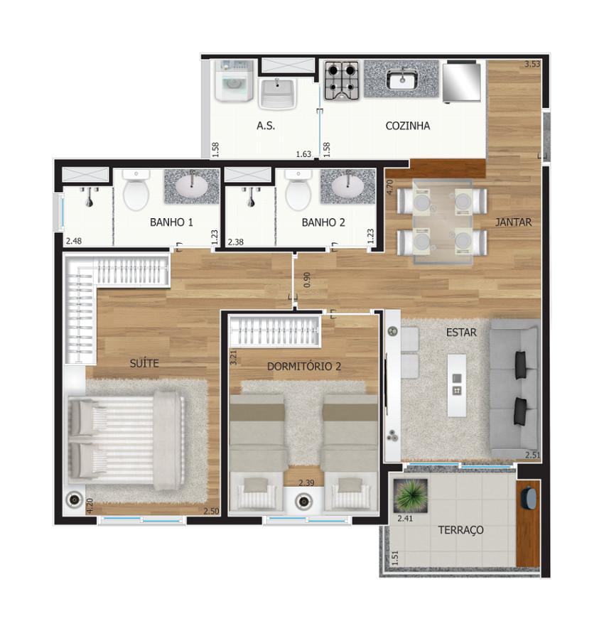 2 dormitórios - Opção Ponta