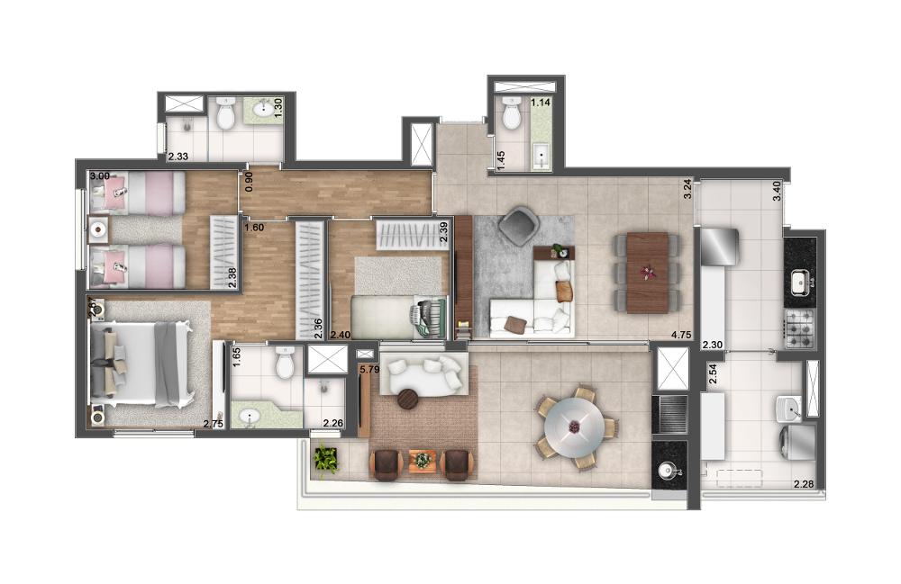 Tipo B - 3 dormitórios