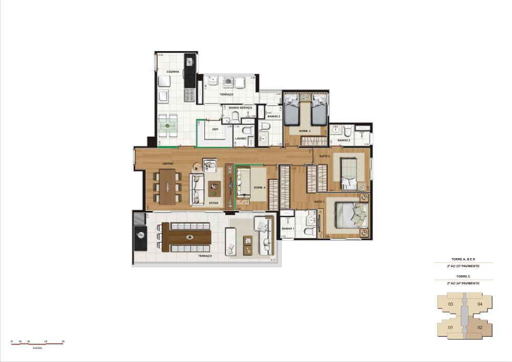 4 dorms - 134 m²