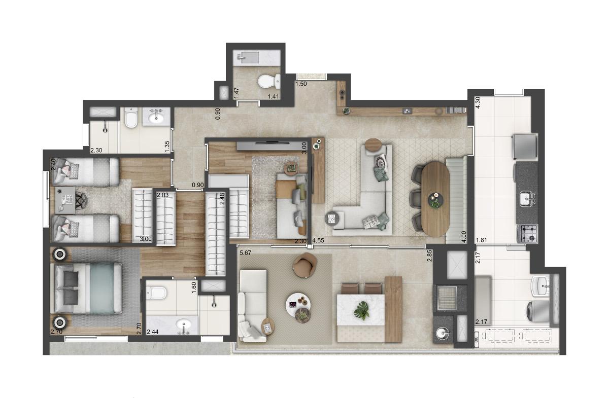 3 dormitórios - tipo