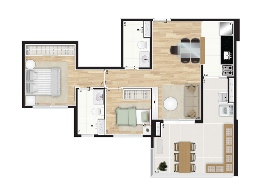 64 m² - 2 dorms