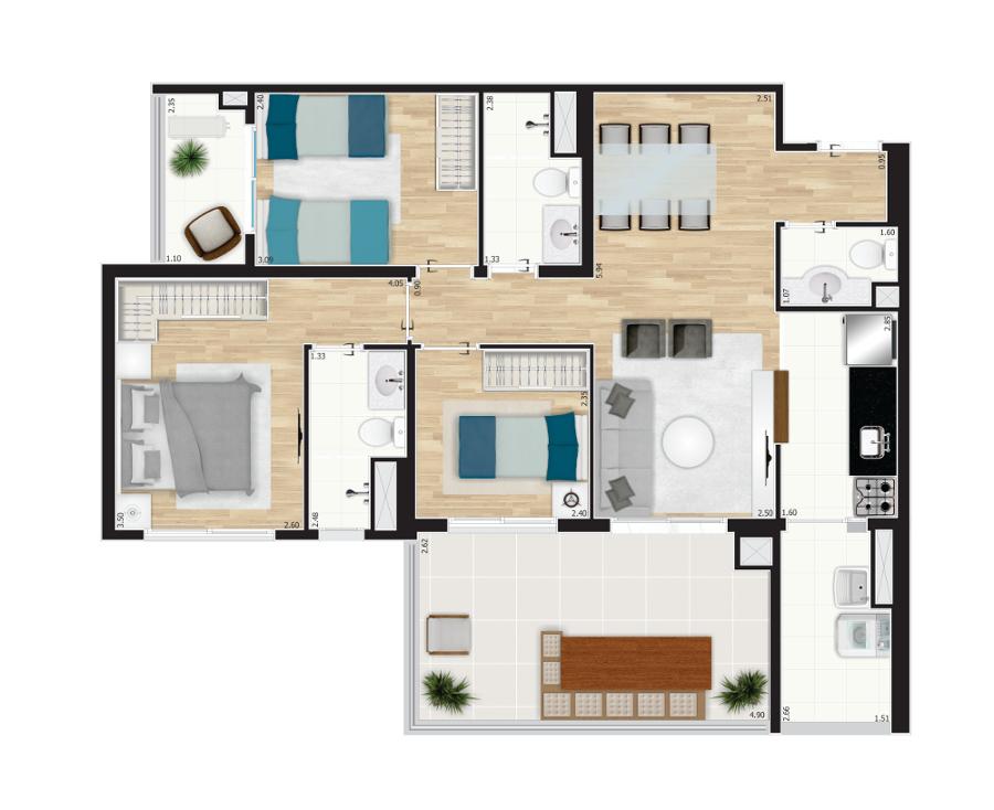 86 m² - 3 dorms