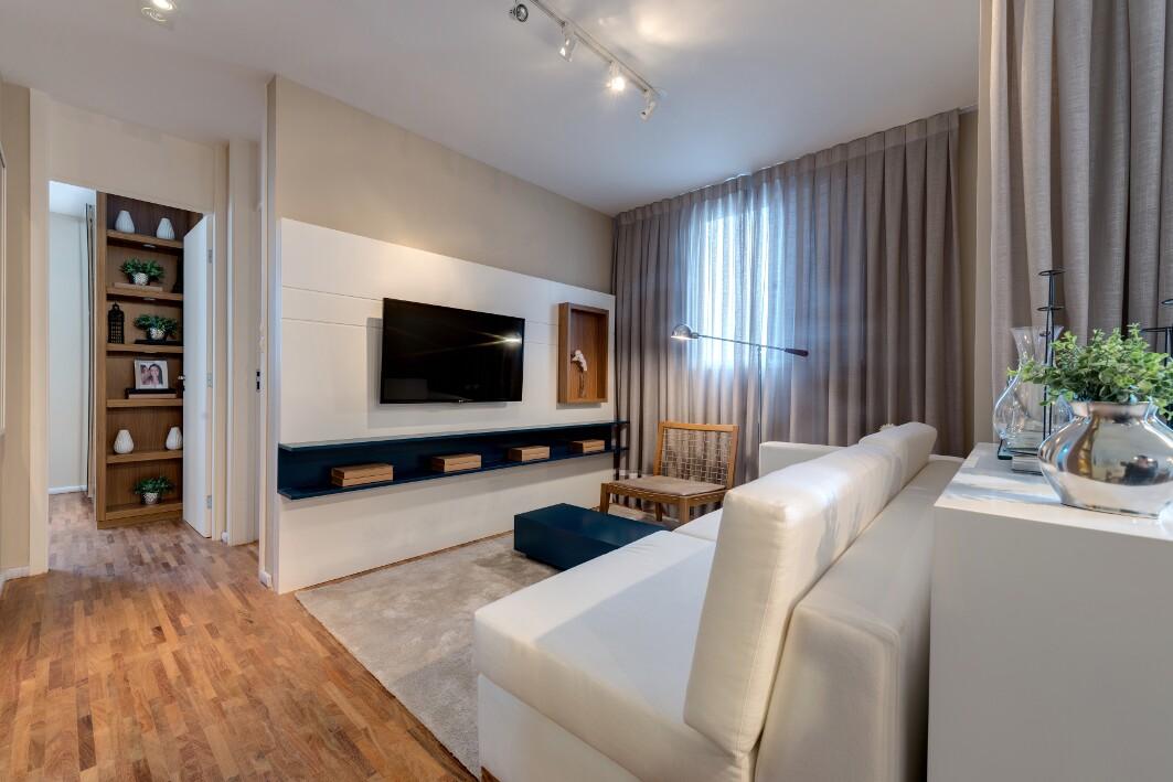 Foto apartamento decorado 69m² living ampliado