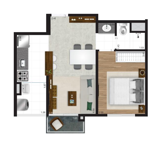 39 m² - 1 dorm