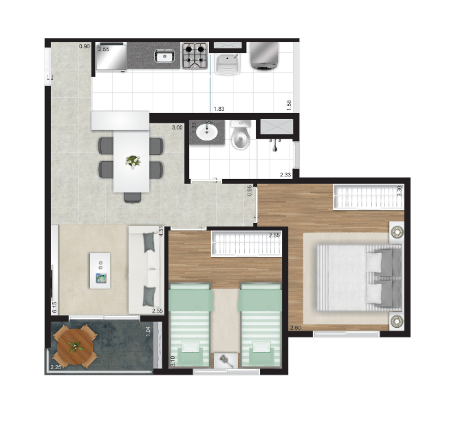 51 m² - 2 dorms