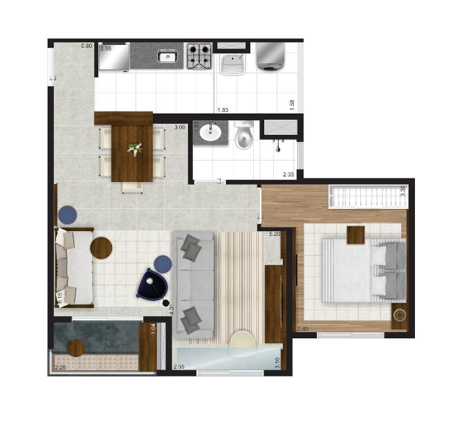 51 m² - Opção living ampliado