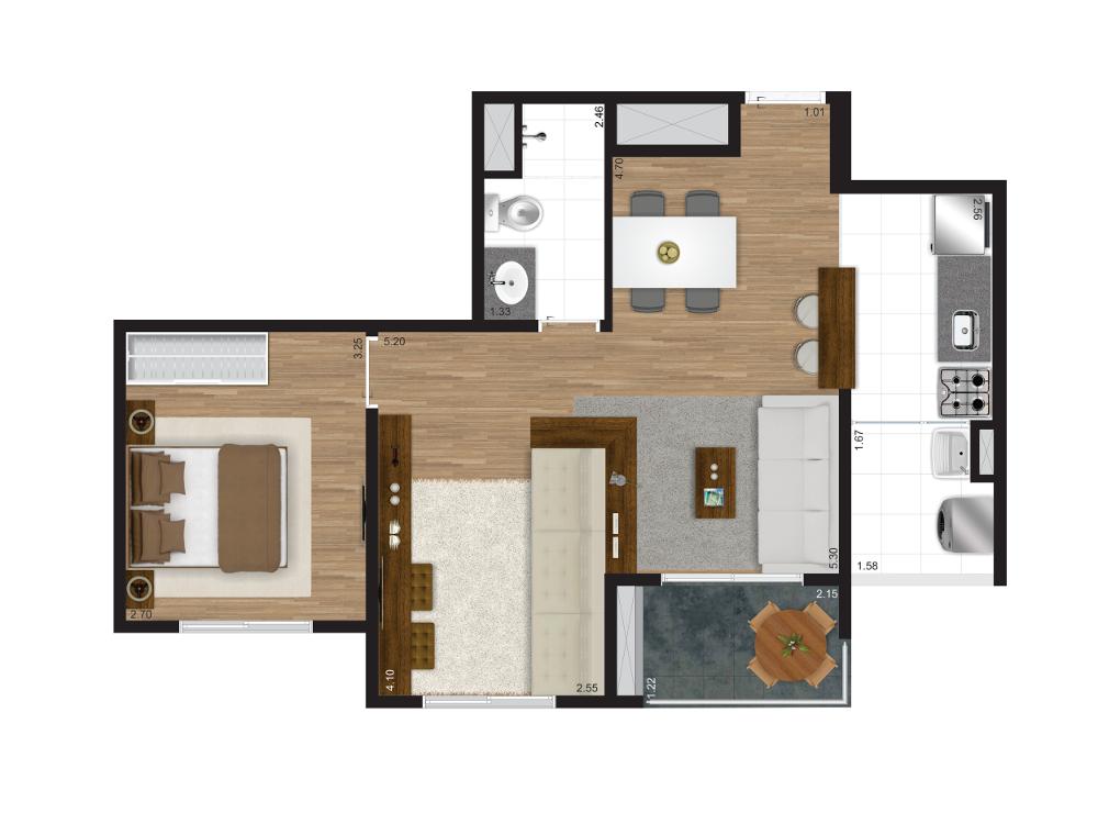 51 m² - meio - Opção living ampliado