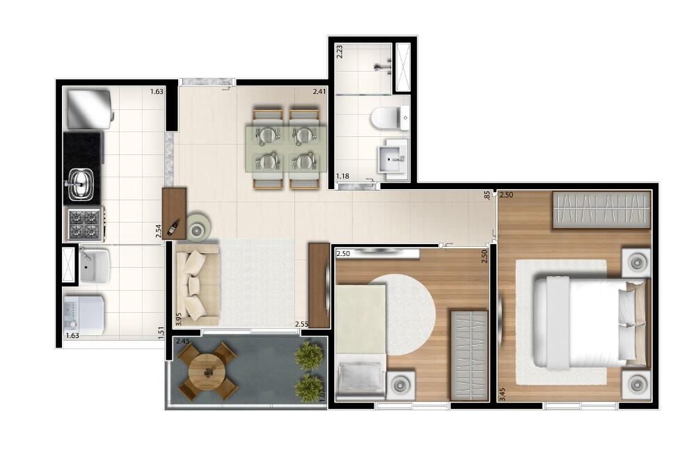 45 m² - 2 dorms