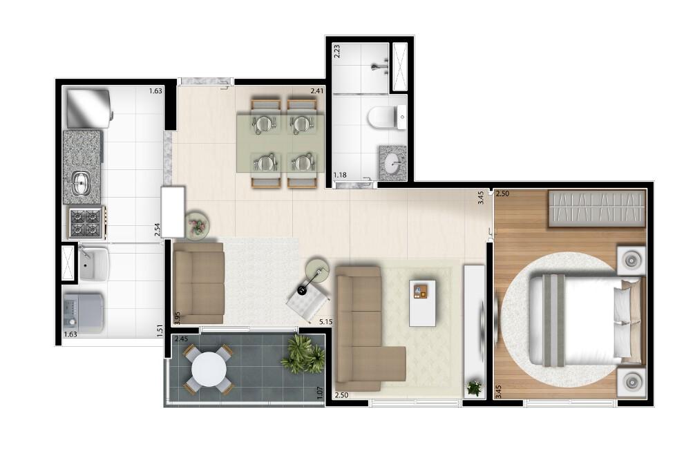 45 m² - Opção living ampliado