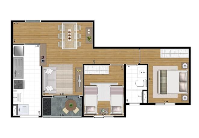 52 m² - 2 dorms