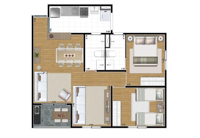 61 m² - Opção living ampliado