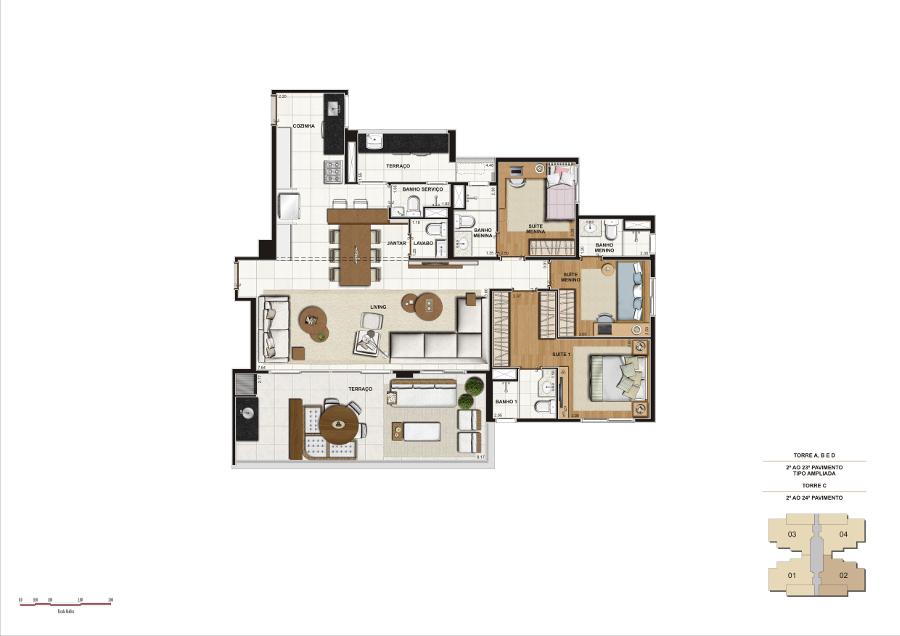 134 m² - Opção living ampliado